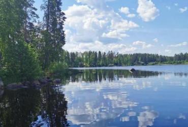 Kesämaisema järven rannalta.